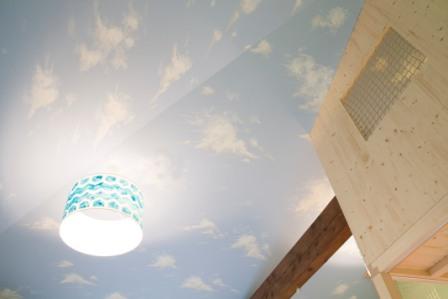 Modro-bílý lustr ladící ke stropu