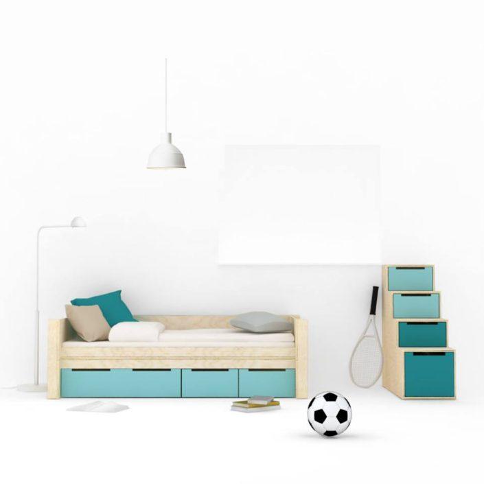 Světle-hnědá postel s modrými zásuvkami