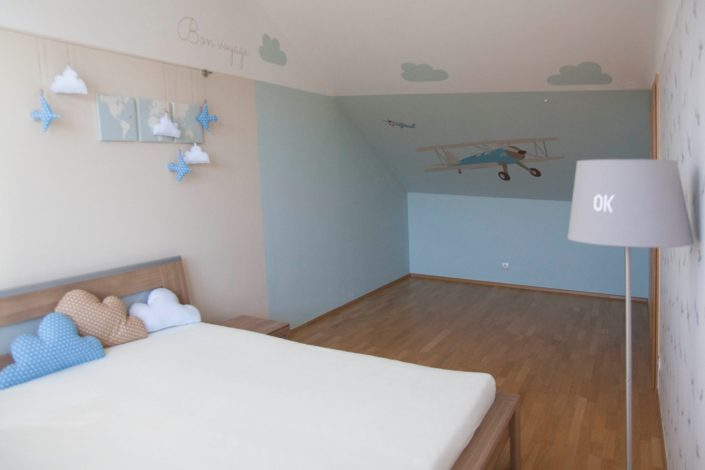 Pokoj pro malého milovníka letadel